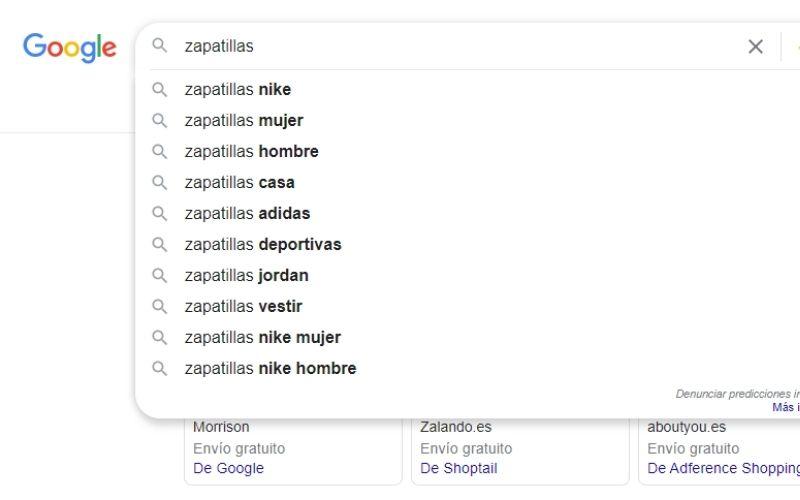 Búsqueda mediante herramienta Google Suggest search
