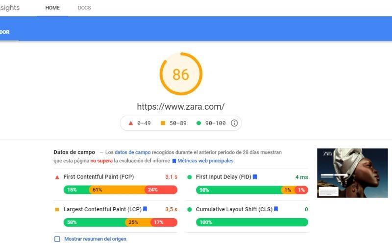 Interfaz para análisis de velocidad Page speed insight