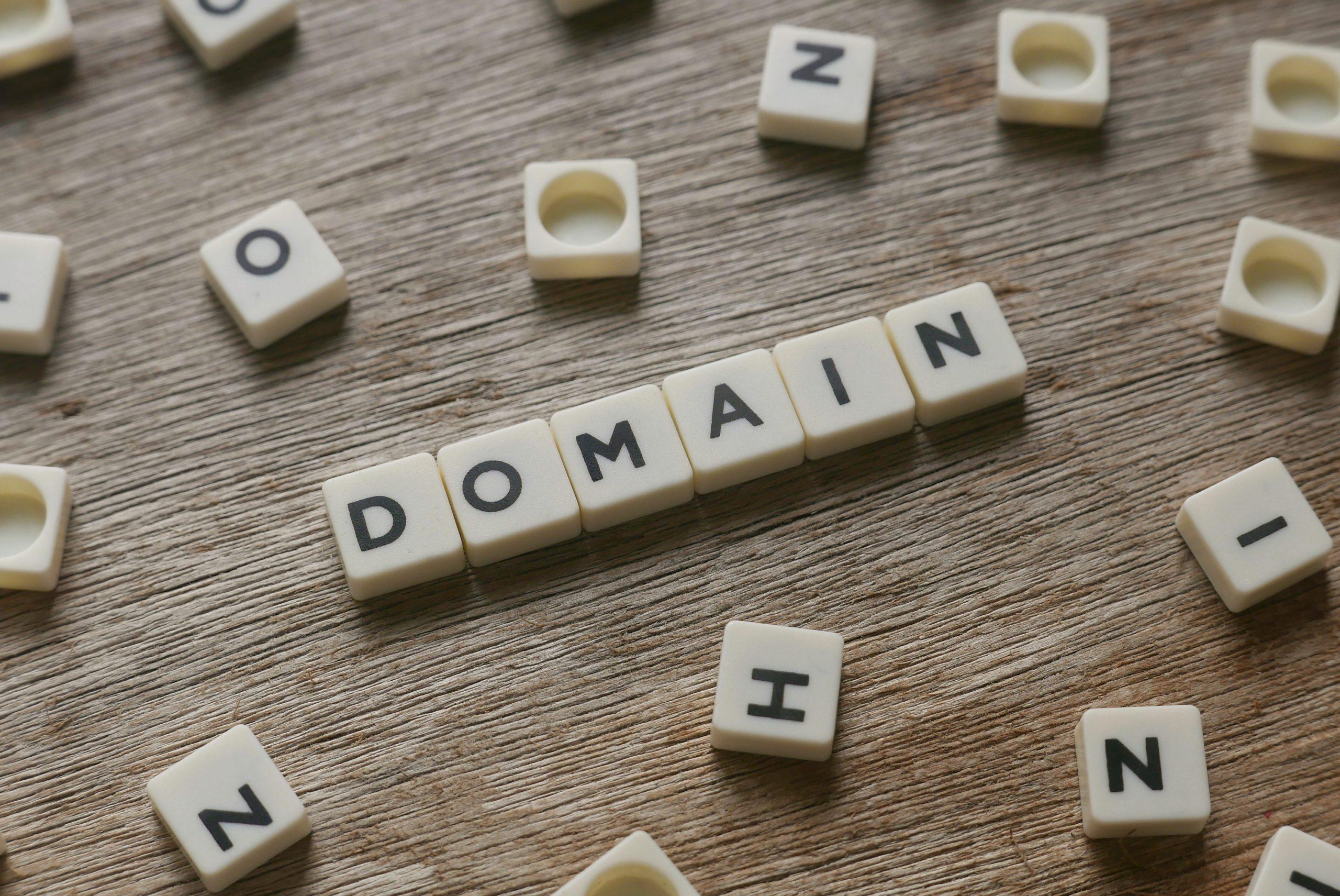"""Imagen de la palabra """"domain"""" dominio en inglés, en relación al alojamiento web o hosting"""